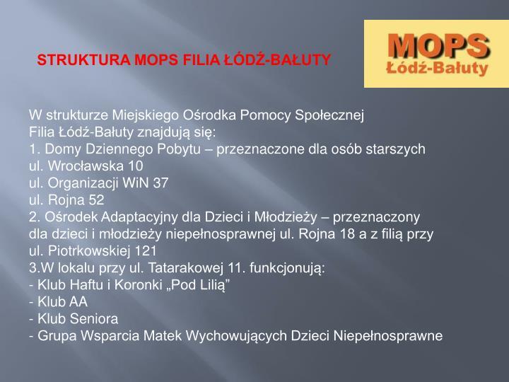 STRUKTURA MOPS FILIA ŁÓDŹ-