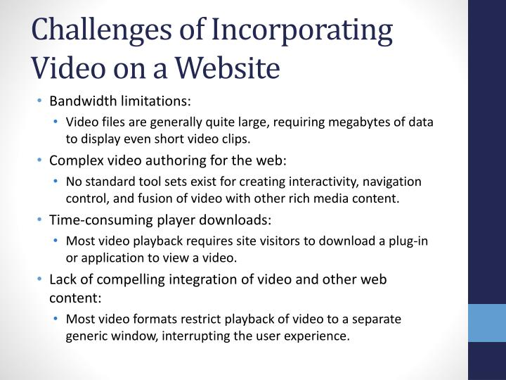 Challenges of Incorporating Video on a Website