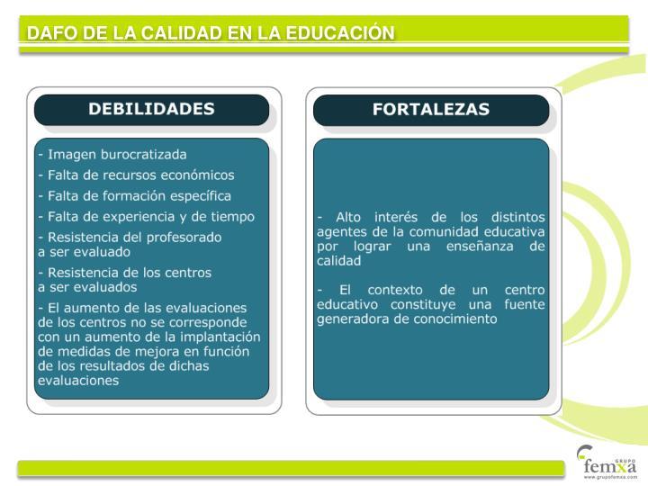 DAFO DE LA CALIDAD EN LA EDUCACIÓN
