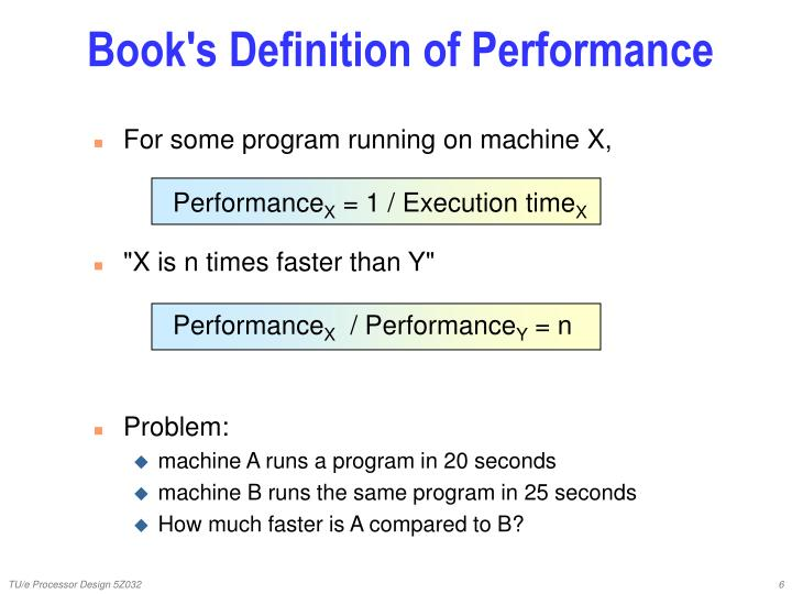 Book's Definition of Performance