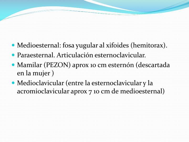 Medioesternal: fosa yugular al xifoides (hemitorax).