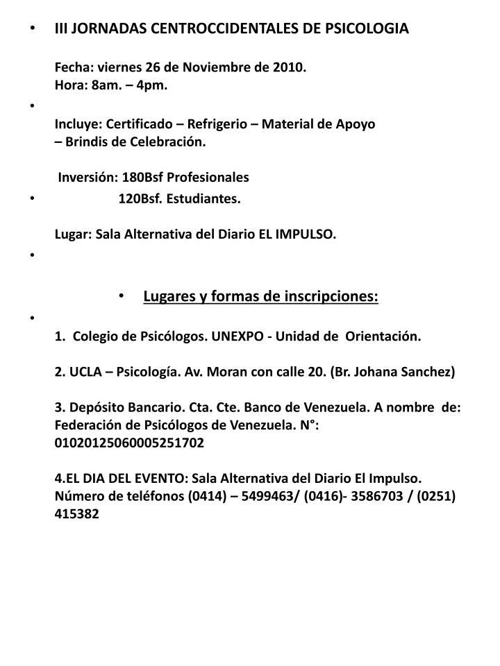 III JORNADAS CENTROCCIDENTALES DE PSICOLOGIA
