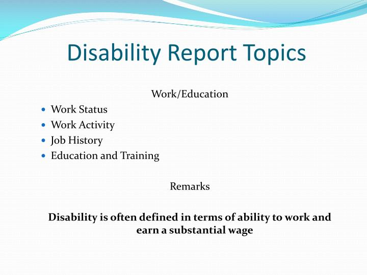 Disability Report Topics