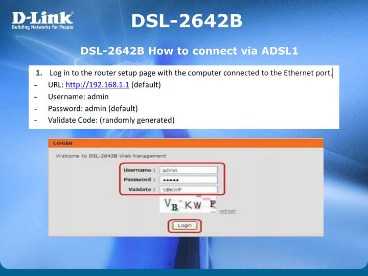 DSL-2642B How to connect via ADSL1