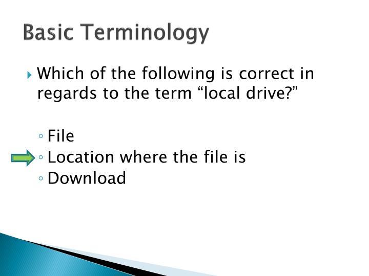 Basic Terminology