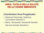 area tutela della salute delle donne immigrate