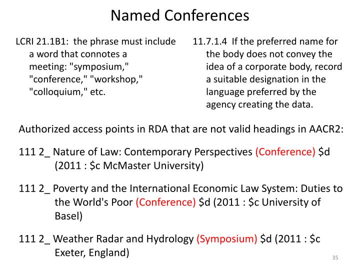 Named Conferences