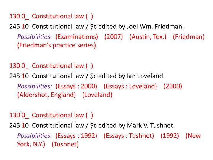 130 0_  Constitutional law (  )