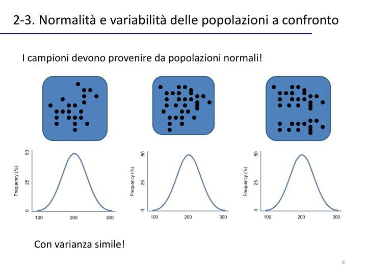 2-3. Normalità e variabilità delle popolazioni a confronto