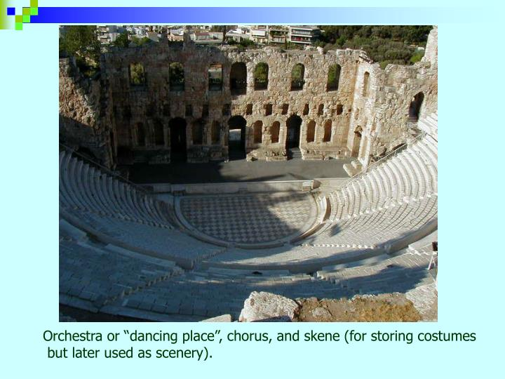 """Orchestra or """"dancing place"""", chorus, and skene (for storing costumes"""