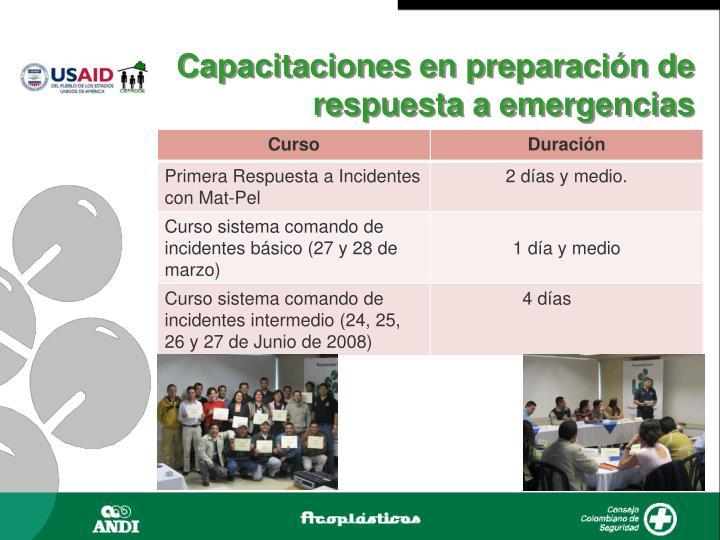 Capacitaciones en preparación de respuesta a emergencias
