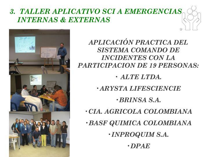 3.  TALLER APLICATIVO SCI A EMERGENCIAS INTERNAS & EXTERNAS