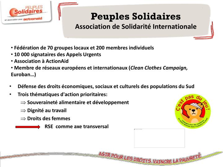Peuples solidaires association de solidarit internationale
