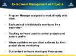 exceptional management of projects