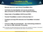 framemaker to xml automated conversion process