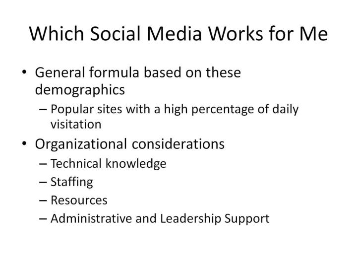 Which Social Media Works for Me