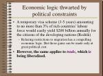 economic logic thwarted by political constraints