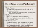 the political actors pusillanimity