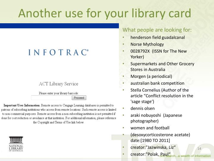 Another use for your library card