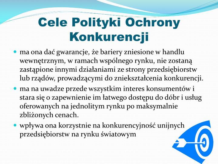 Cele Polityki Ochrony Konkurencji