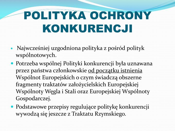 POLITYKA OCHRONY KONKURENCJI
