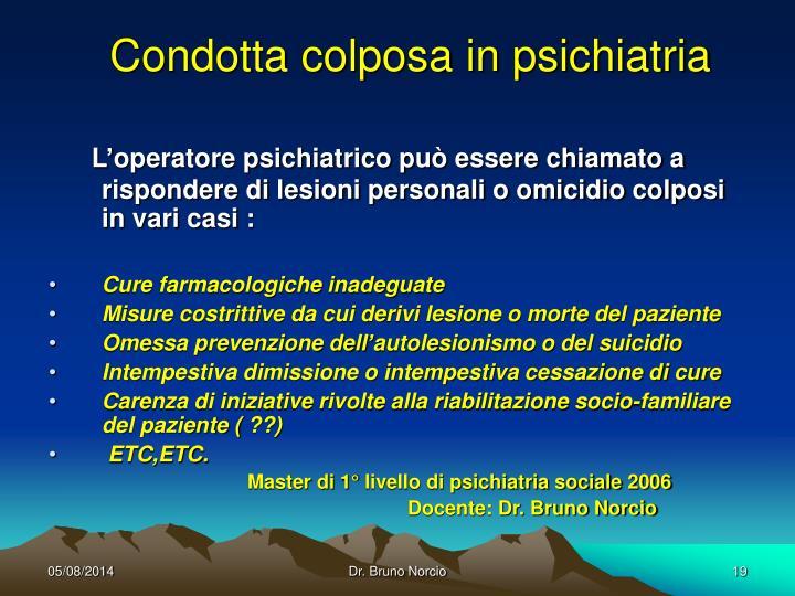 Condotta colposa in psichiatria