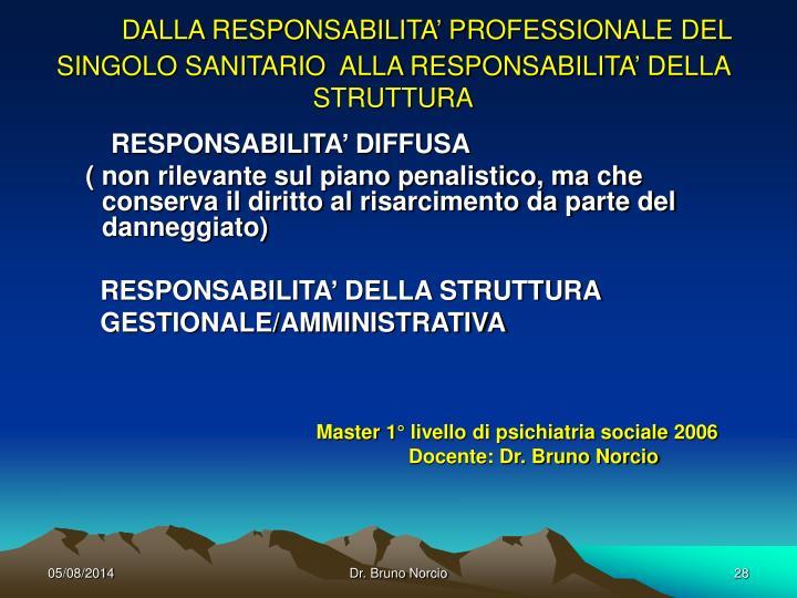 DALLA RESPONSABILITA' PROFESSIONALE DEL SINGOLO SANITARIO  ALLA RESPONSABILITA' DELLA STRUTTURA