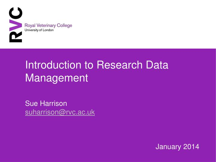 introduction to research data management n.