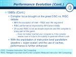 performance evolution cont