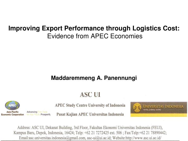 Improving Export Performance through Logistics Cost: