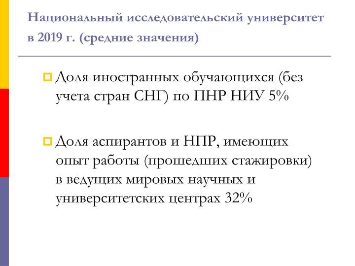 Национальный исследовательский университет в 2019 г. (средние значения)