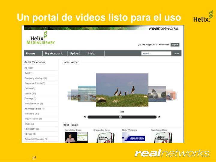 Un portal de videos listo para el uso