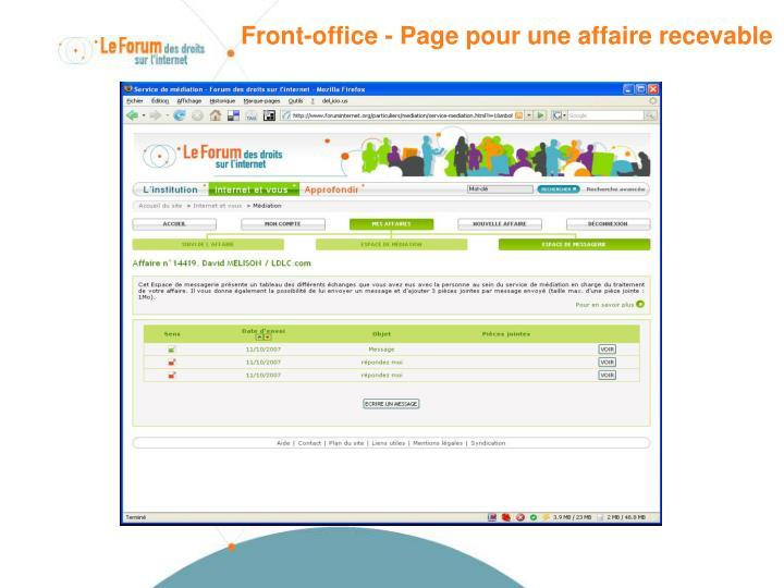 Front-office - Page pour une affaire recevable