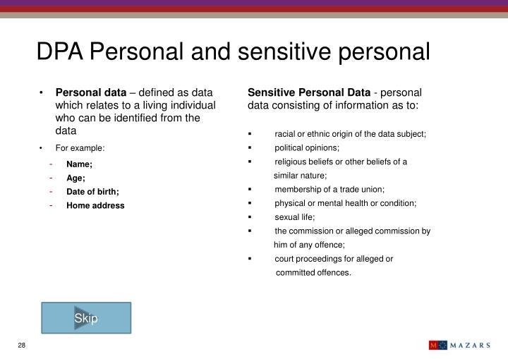 DPA Personal and sensitive personal