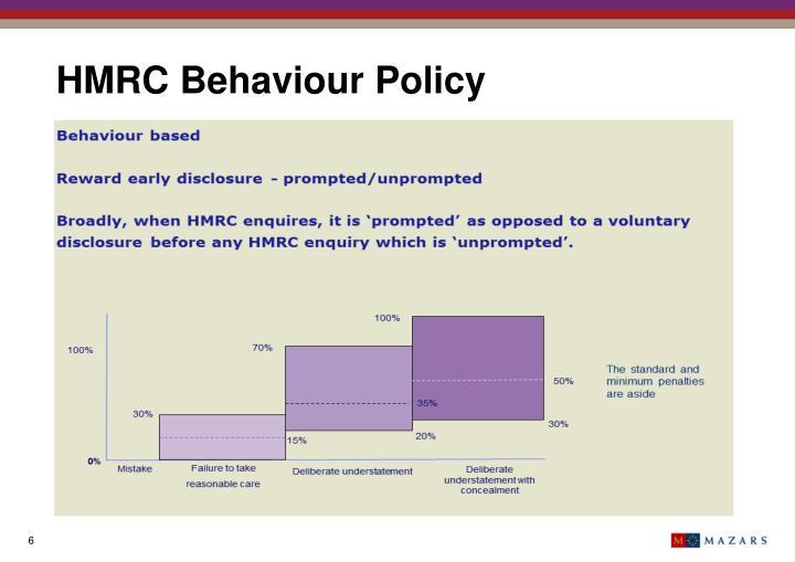 HMRC Behaviour Policy