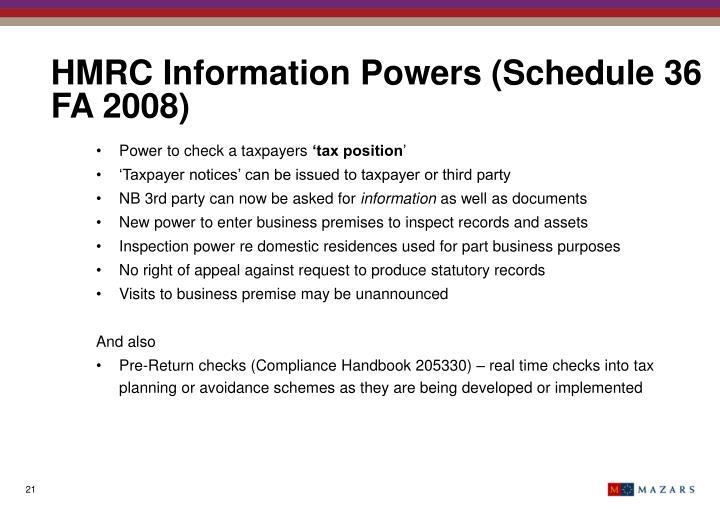 HMRC Information Powers (Schedule 36 FA 2008)