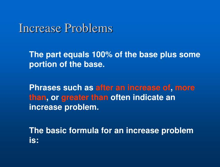 Increase Problems