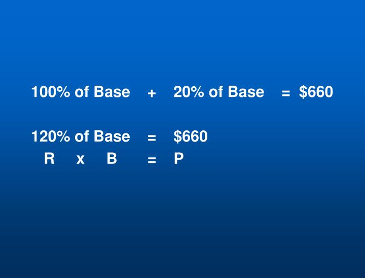 100% of Base    +    20% of Base    =  $660