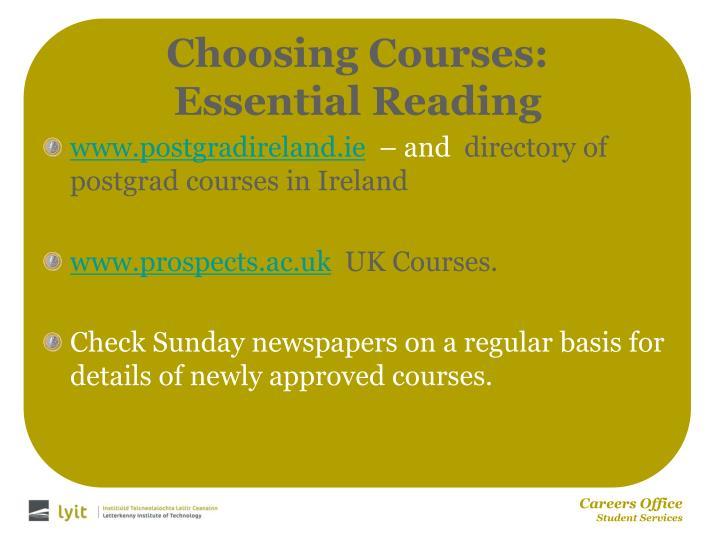 Choosing Courses: