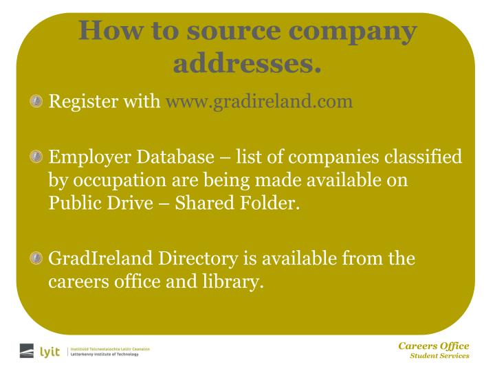 How to source company addresses.