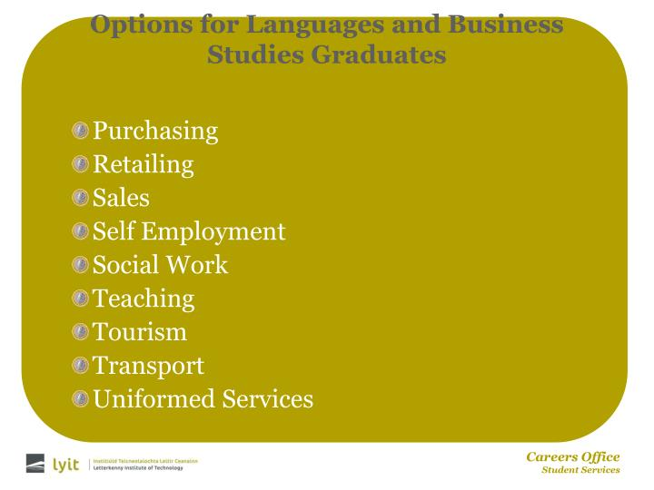 Options for Languages and Business Studies Graduates