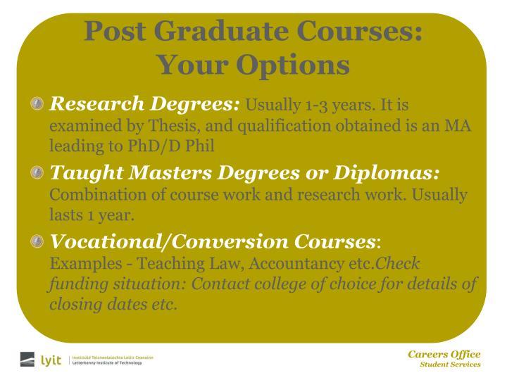 Post Graduate Courses: