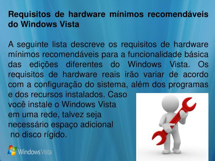 Requisitos de hardware mínimos recomendáveis do Windows Vista