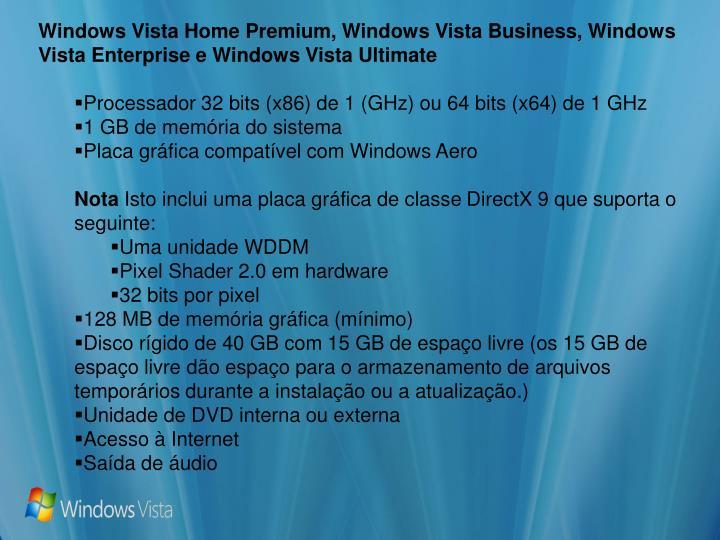 Windows Vista Home Premium, Windows Vista Business, Windows Vista Enterprise e Windows Vista