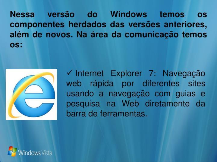 Nessa versão do Windows temos os componentes herdados das versões anteriores, além de novos. Na área da comunicação temos os: