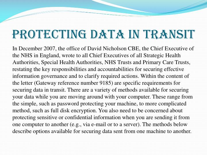 Protecting data in transit1