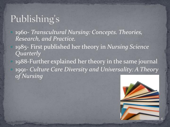 madeleine leiningers cultural care diversity theory Leininger theory of culture care diversity and universality (garmon 2011 p 1) is derived from the understanding the fields of culture and anthropology and is credited for her contribution to the nursing theory by establishing the transcultural concept in the nursing care.