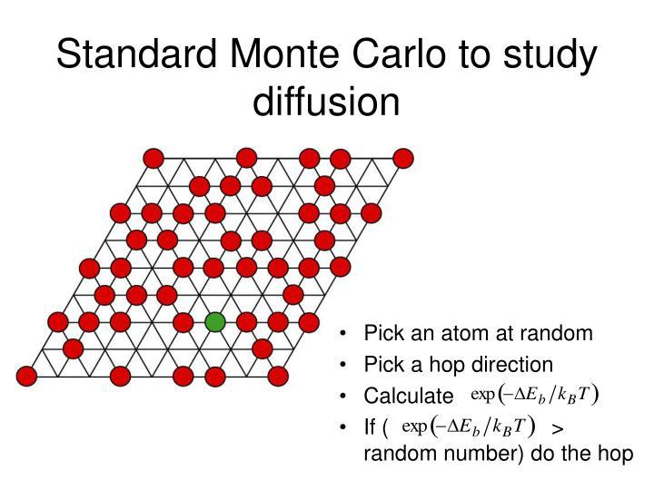 Standard Monte Carlo to study diffusion