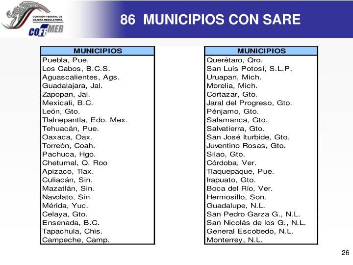 86  MUNICIPIOS CON SARE