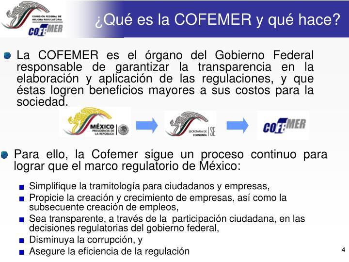 ¿Qué es la COFEMER y qué hace?